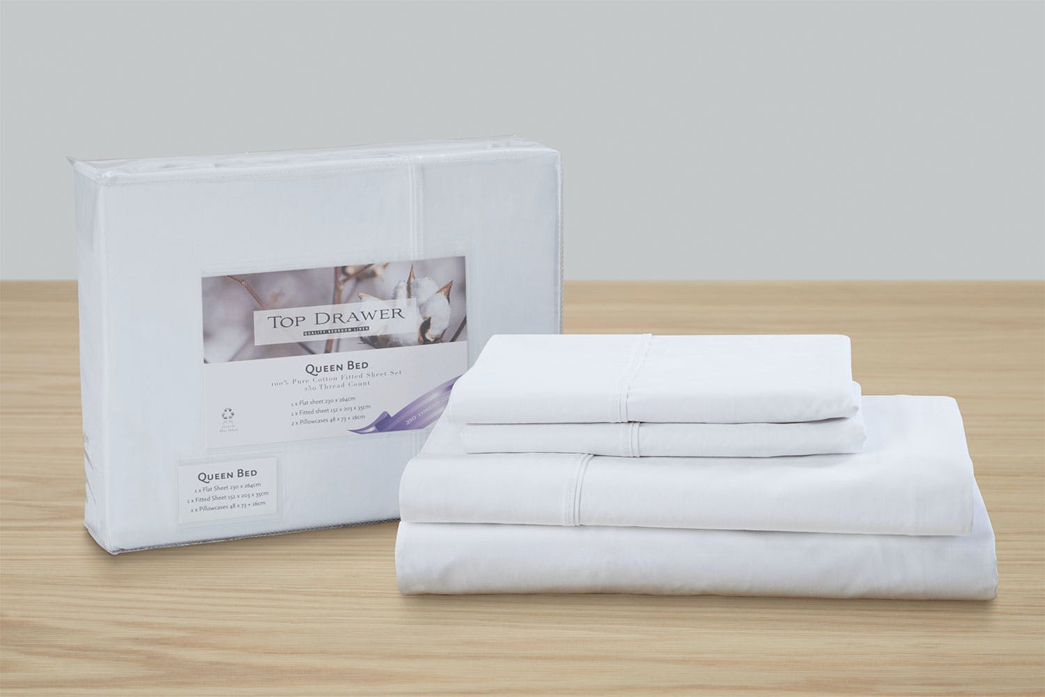 250tc Hotel Weight 100 Cotton Sheet Set By Top Drawer Harvey